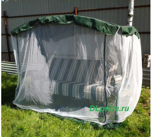 Садовые качели Милан зелёные с москитной сеткой